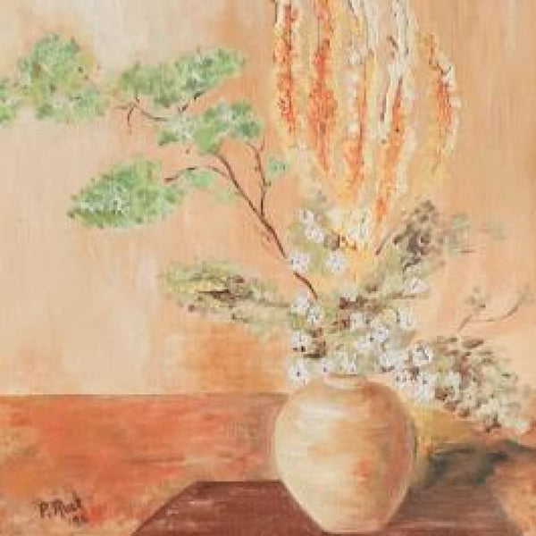 Vintage Still Life with Yellow Flowers Oil Painting - decor