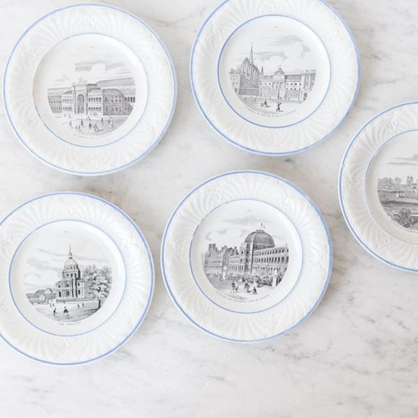 Vintage Transferware Paris Plate set of 5 - The French Kitchen