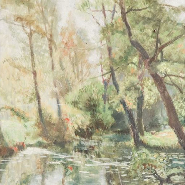 Vintage Trees by the Pond Oil Painting - decor
