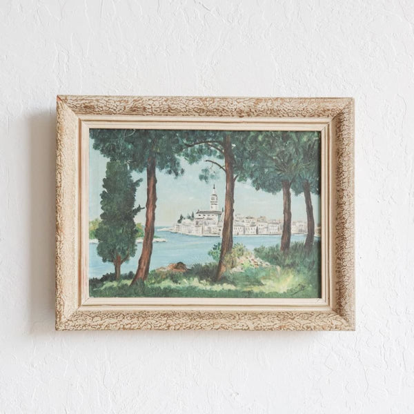 Vintage Village Through the Trees Oil Painting - decor