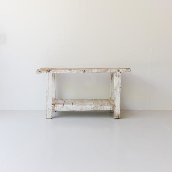 Vintage Whitewashed Work Bench - Furniture