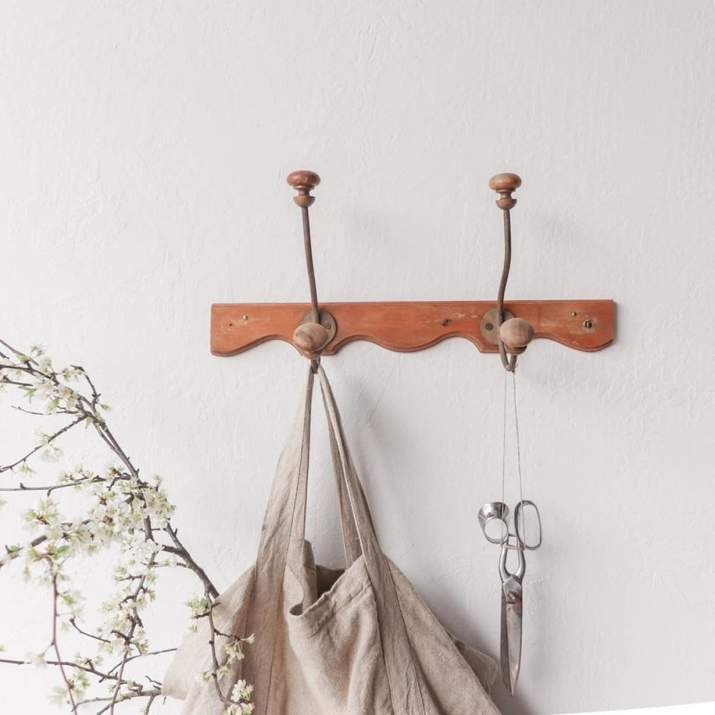 Vintage Wood Coat Rack - Decor