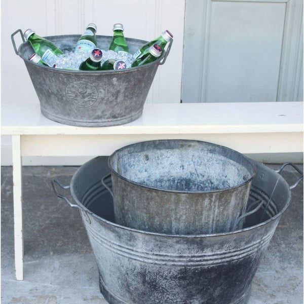 Vintage Zinc Bins and Basins - elsie green
