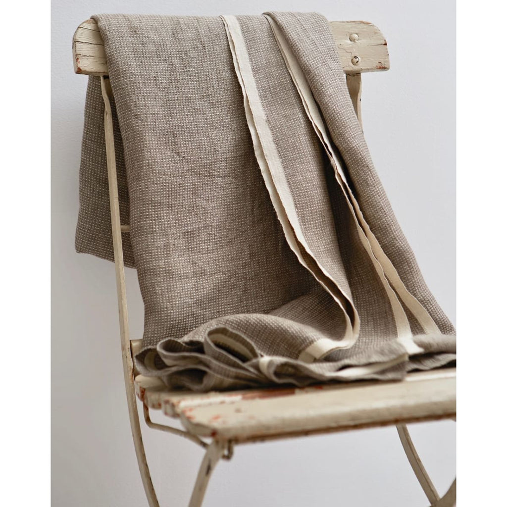 Washed Waffle Throw Natural - grey - Textiles
