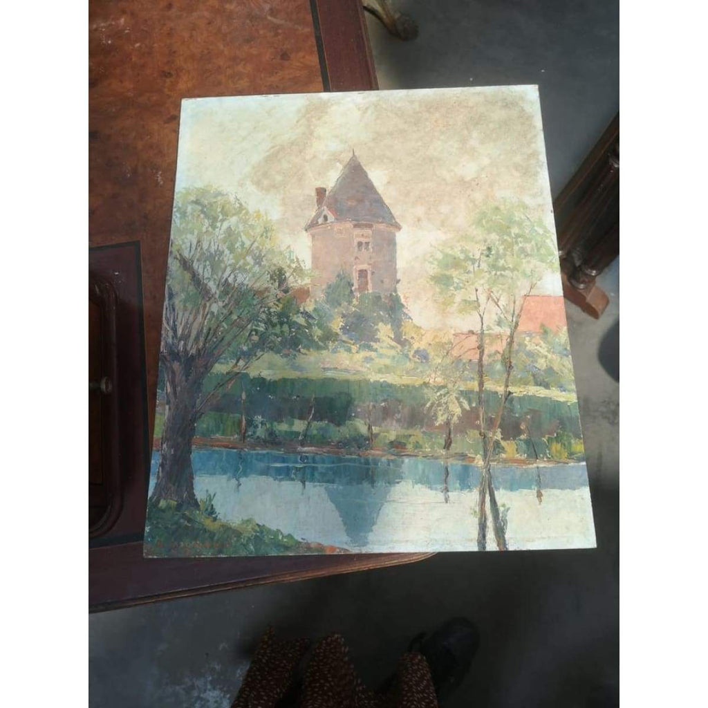 Waterside Tower Oil Painting