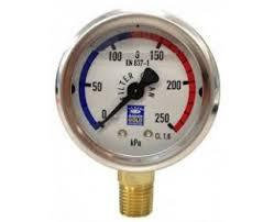 Pressure Gauge For Pool Filters  | Oil Filled  | Stainless Steel  | Bottom Mount