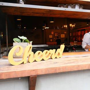 Bar Decor - Cheers Sign (gold)