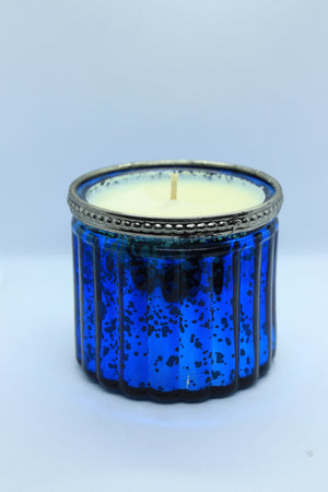 Blue Glass Large Votive Candle