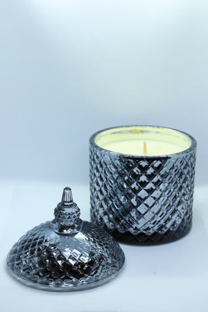 Metallic Black Glass Patterned Jar Candle with Lid