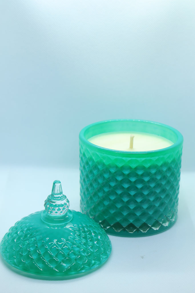 Aquamarine Glass Patterned Jar Candle with Lid