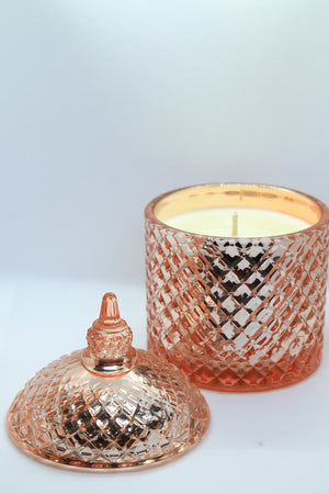 Rose Gold Coloured Glass Jar Candle with Lid