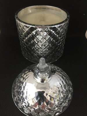 Silver Metallic Coloured Glass Candle with Lid