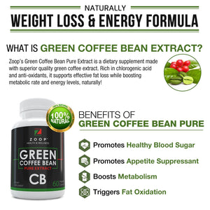 Zoop Green Coffee Bean Extract For Weight Loss Pills, Natural Diet Pills And Appetite Suppressant For Weight Loss, Metabolism Booster And Blood Sugar Support. - GL Health & Wellness