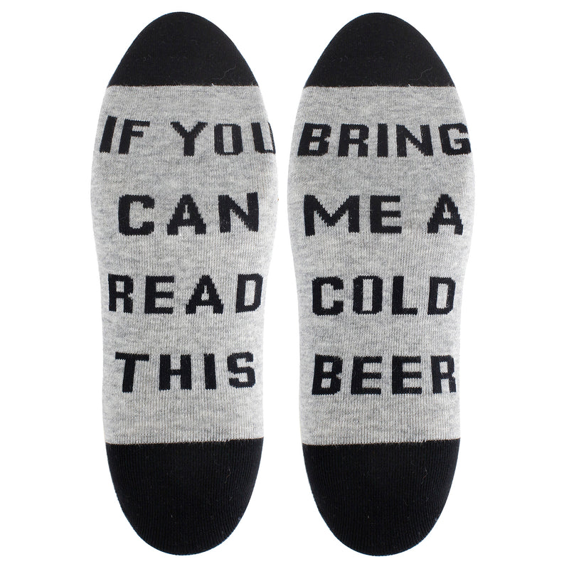 Saying Grey Beer Ankle Socks - Happypop