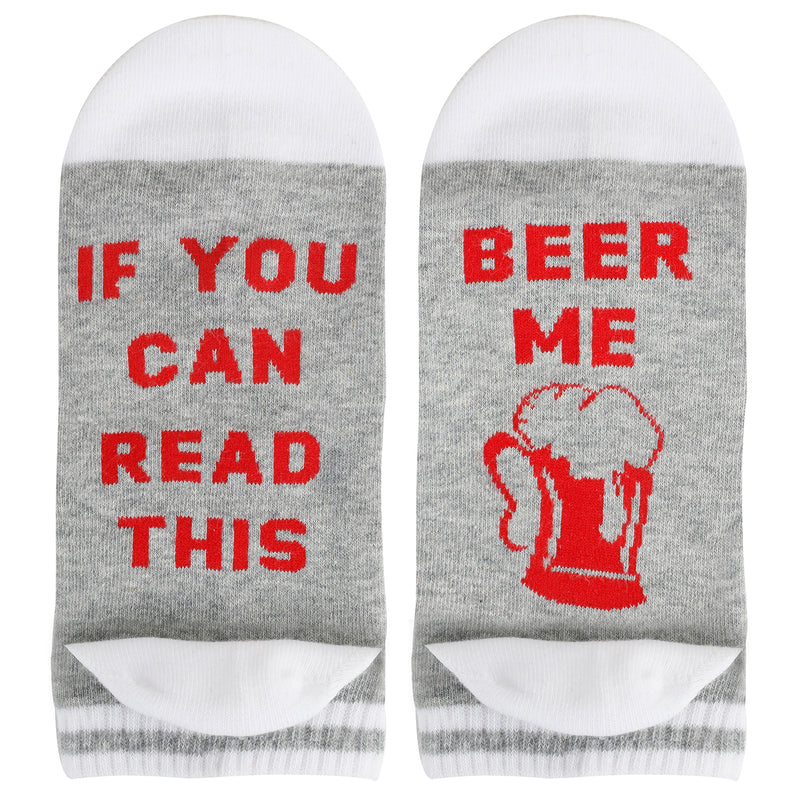 Saying White Beer Ankle Socks - Happypop