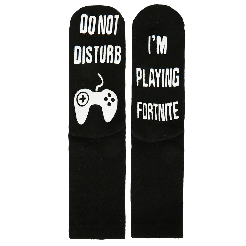 Black Fortnite Game Crew Socks - Happypop