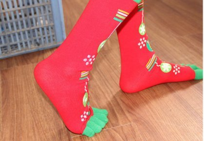 Christmas Five Finger Toe Socks