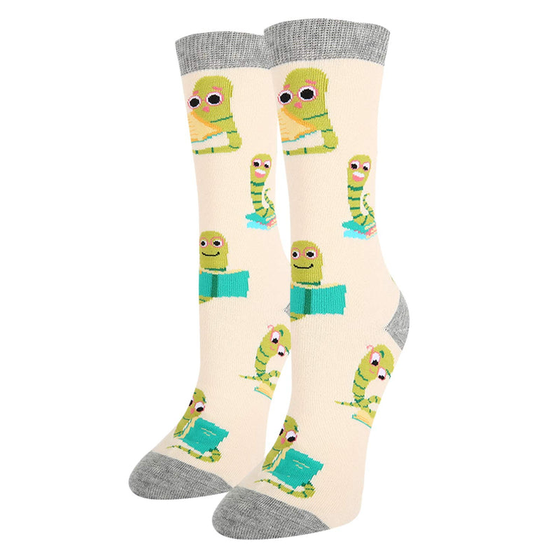 Cute Beige Bookworm Socks - Happypop