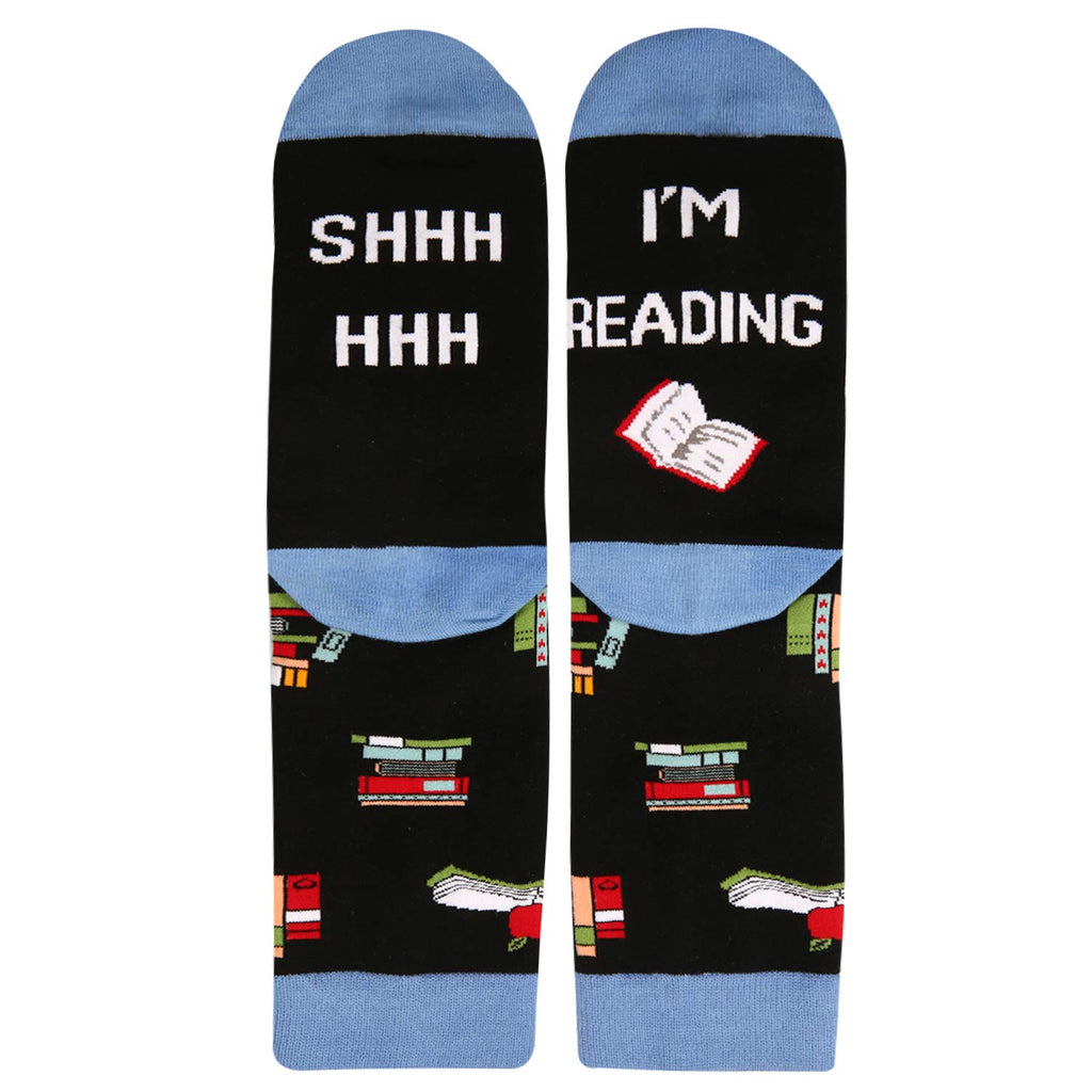 Saying Blue Reading Socks