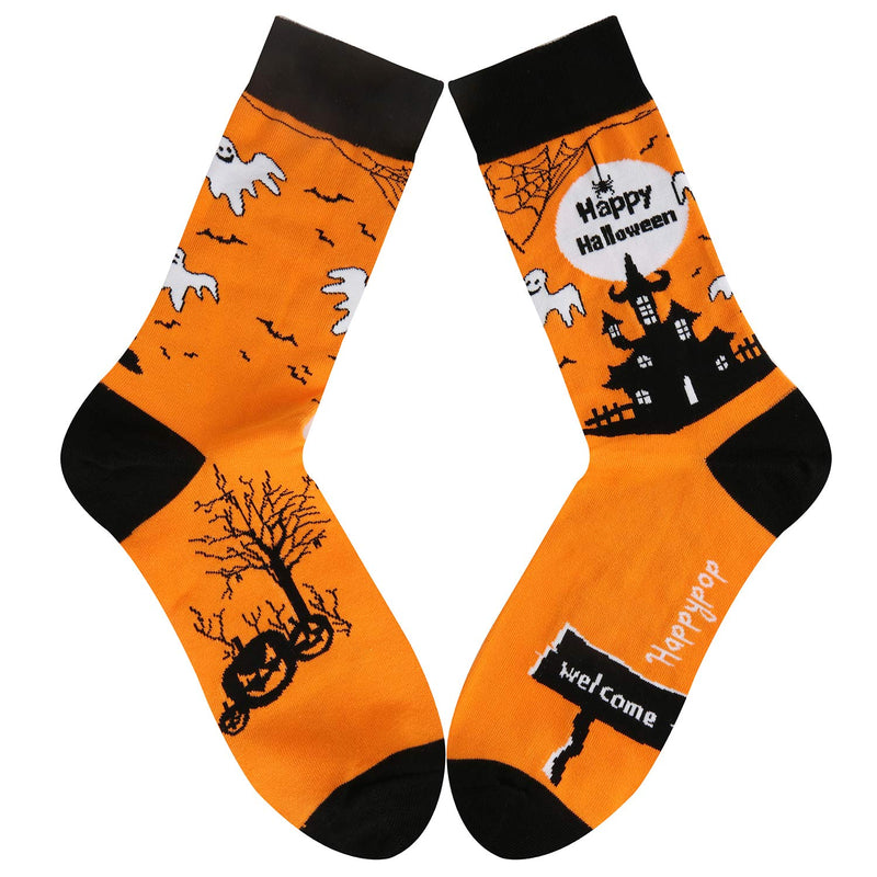 Halloween Orange Castle Socks - Happypop