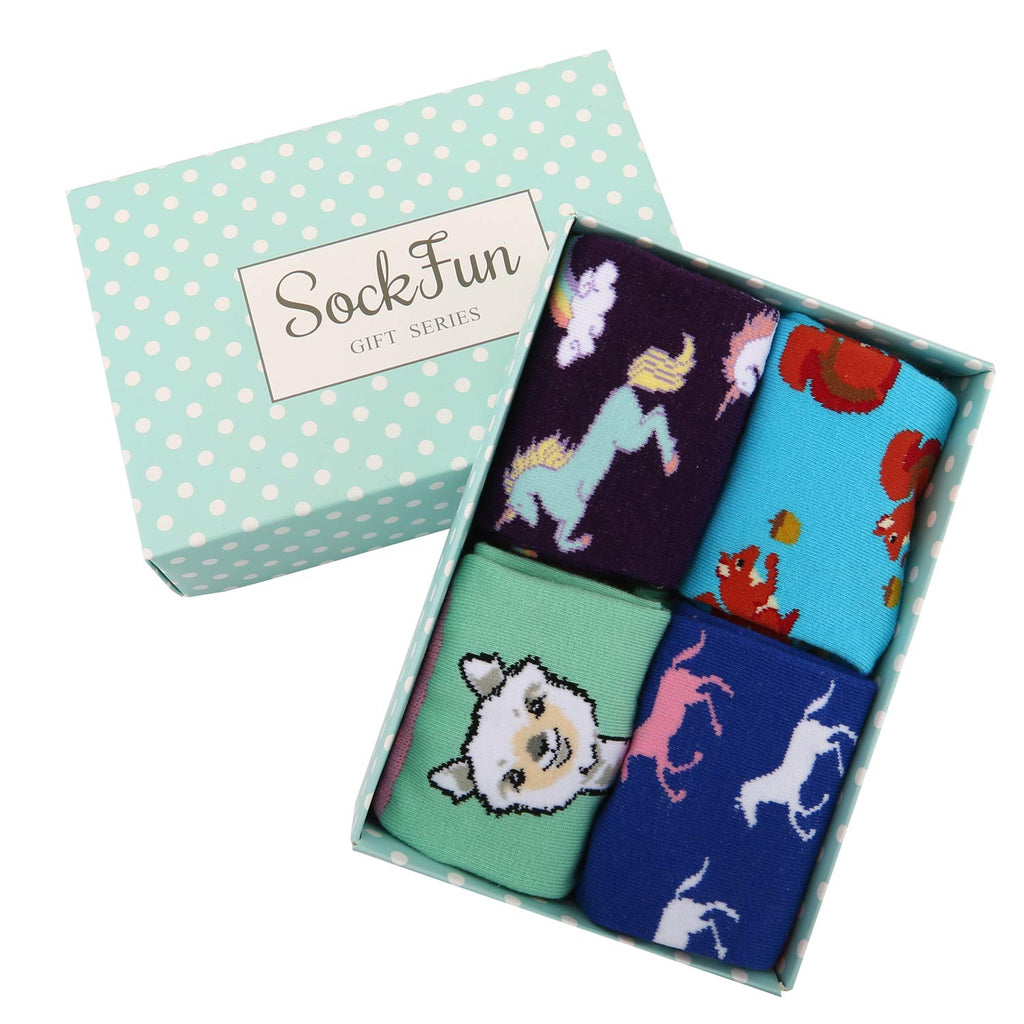 Girls Animals Socks Gift Box