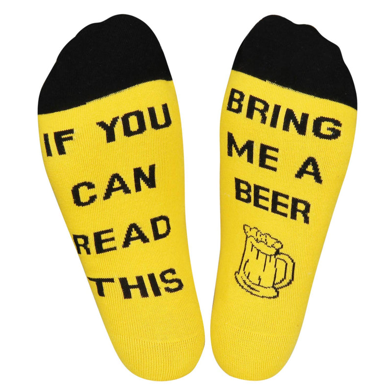 Yellow Saying Beer Socks - Happypop