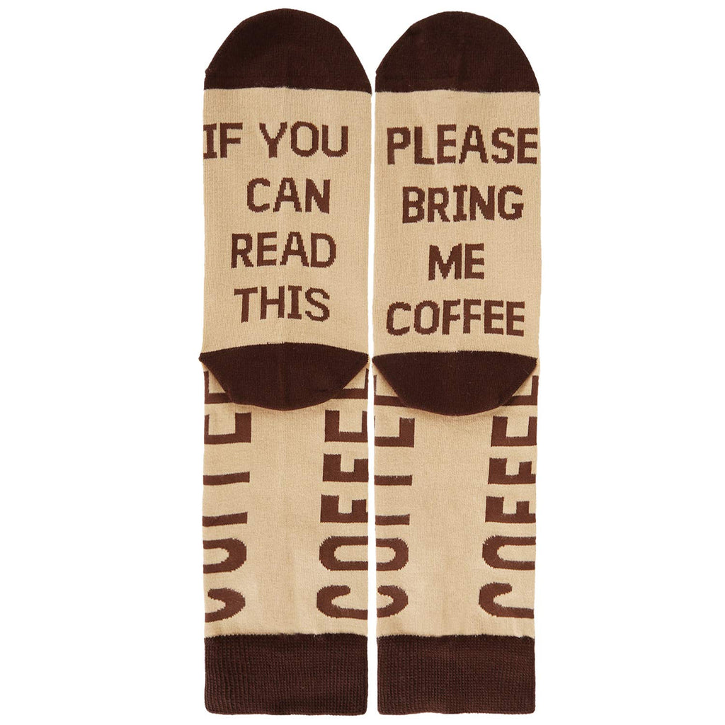 Saying Brown Coffee Socks