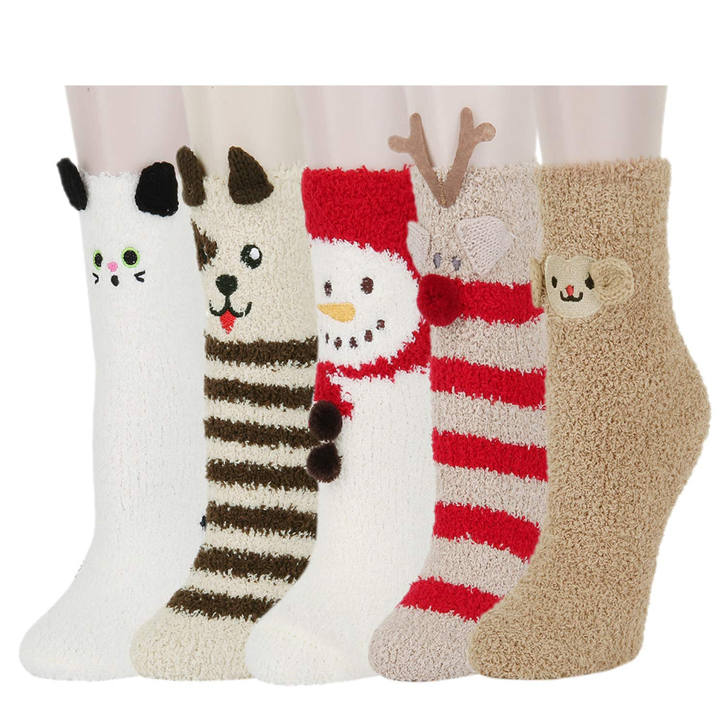 Fuzzy Xmas Cute Slipper Socks - Happypop