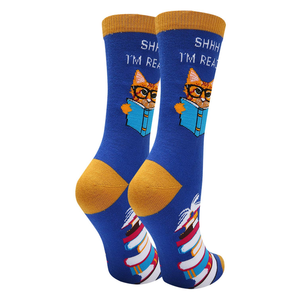 Cat Reading Book Socks - Happypop