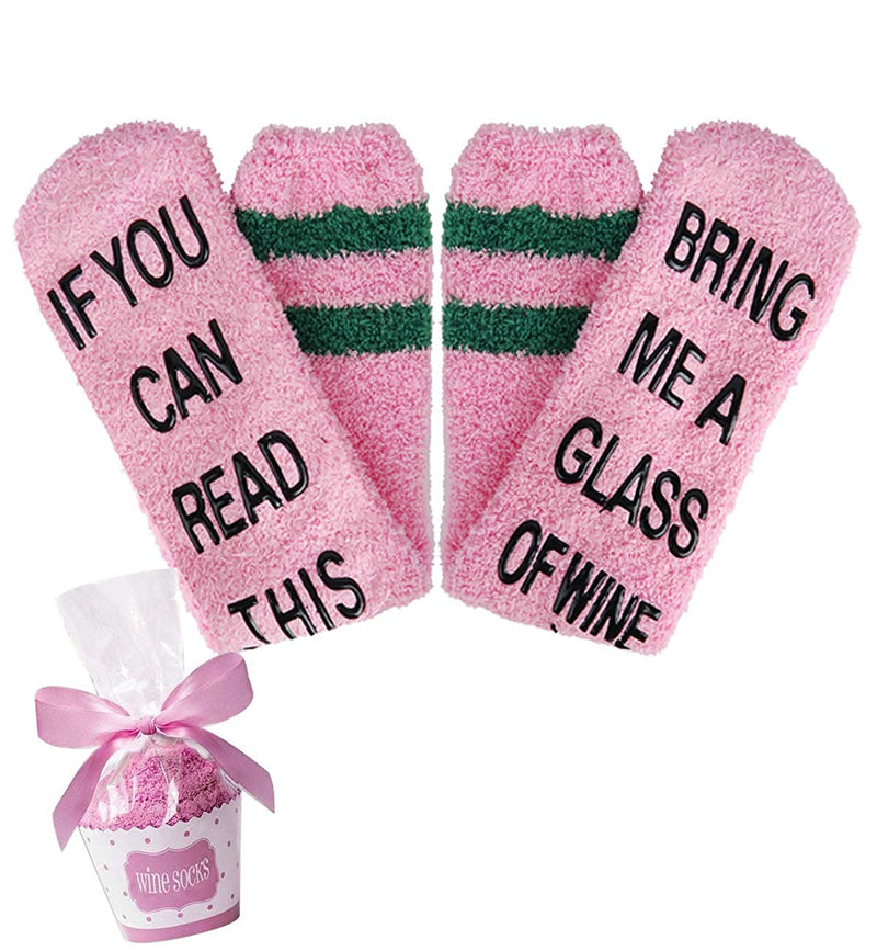 Pink Fluffy Fuzzy Saying Socks - Happypop