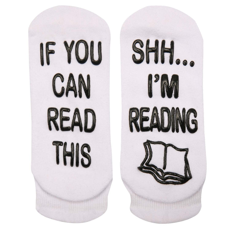 Non-slip White Reading Socks - Happypop
