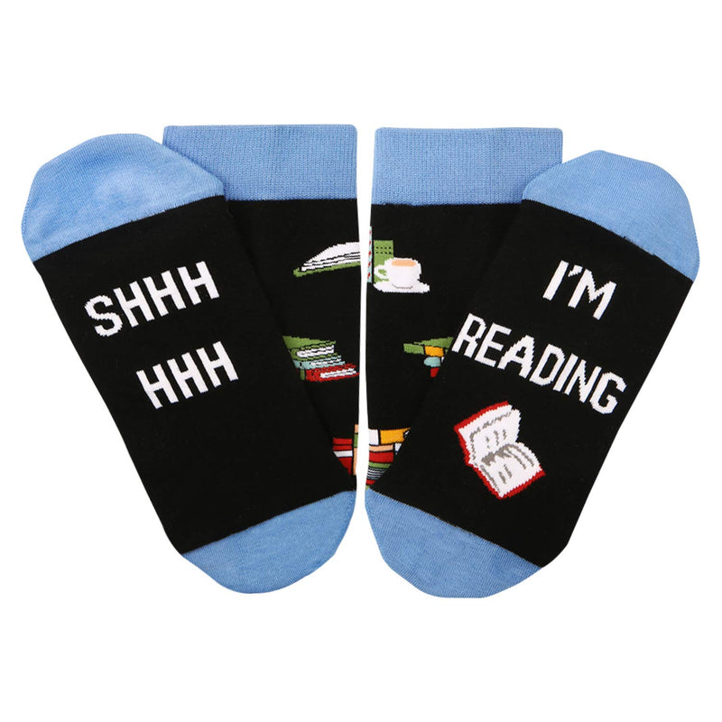 Saying Blue Reading Socks - Happypop