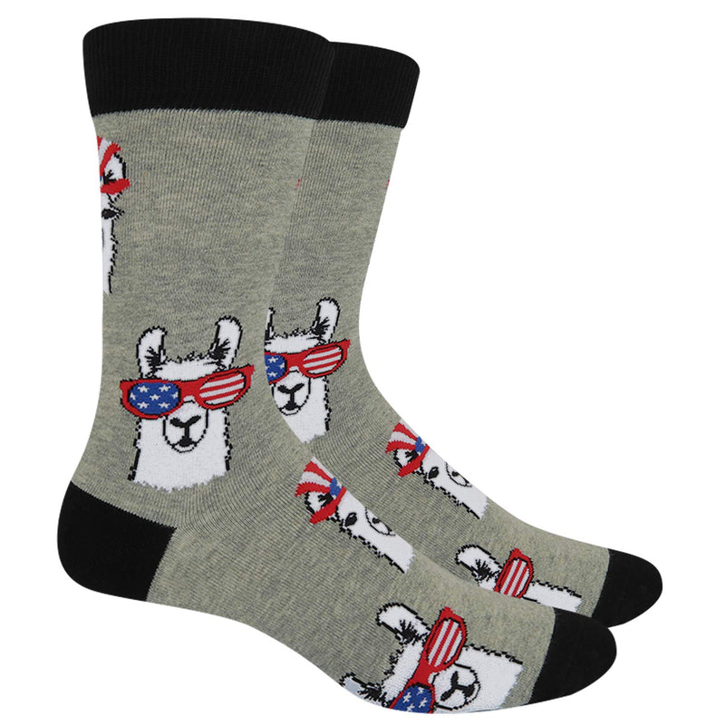 Flag Glasses Llama Socks - Happypop