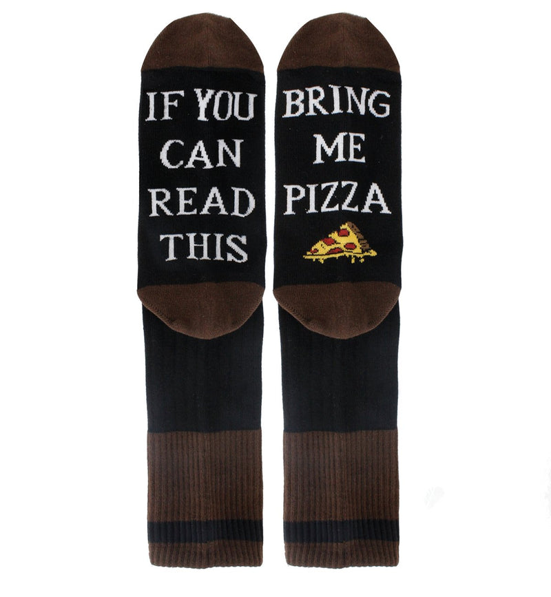 Saying Brown Pizza Socks - Happypop