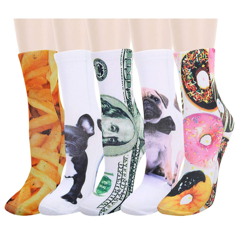Printed Dollar Dog Food Socks - Happypop