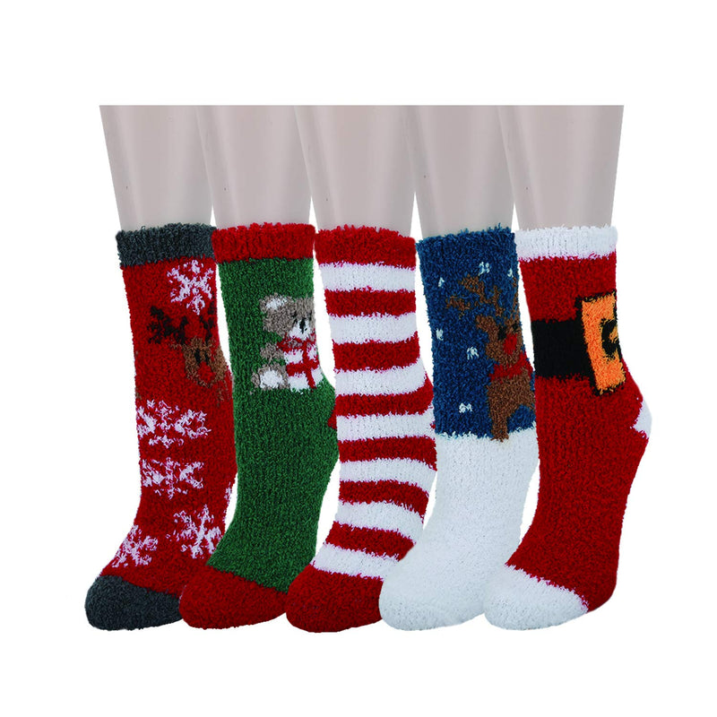 Fuzzy Christmas Slipper Socks