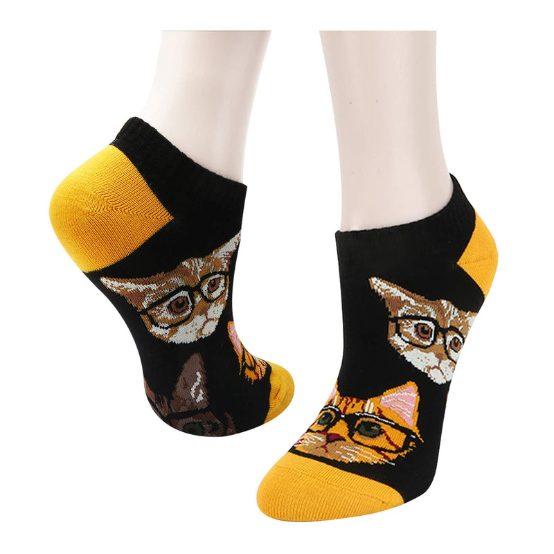 Cat and Flamingo Ankle Socks - 2 Pack - Happypop