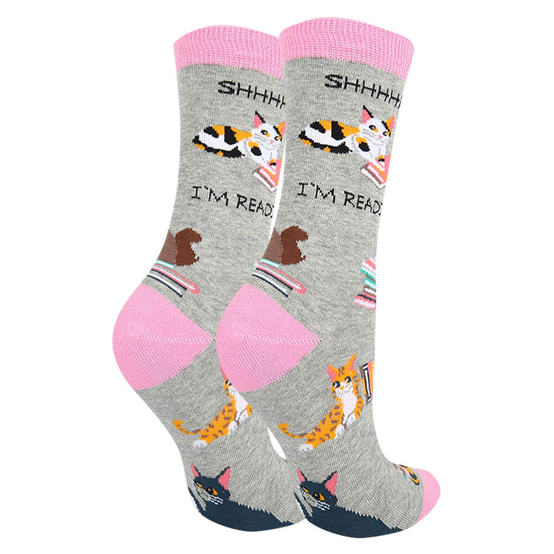Grey Book cat Socks - Happypop