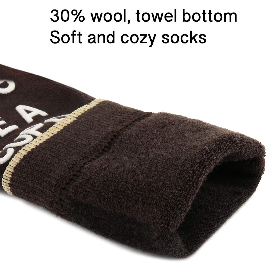 Saying Brown Wool Socks - Happypop