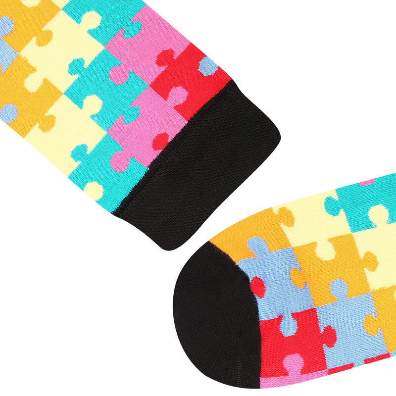 Multicoloured Puzzle Socks - Happypop