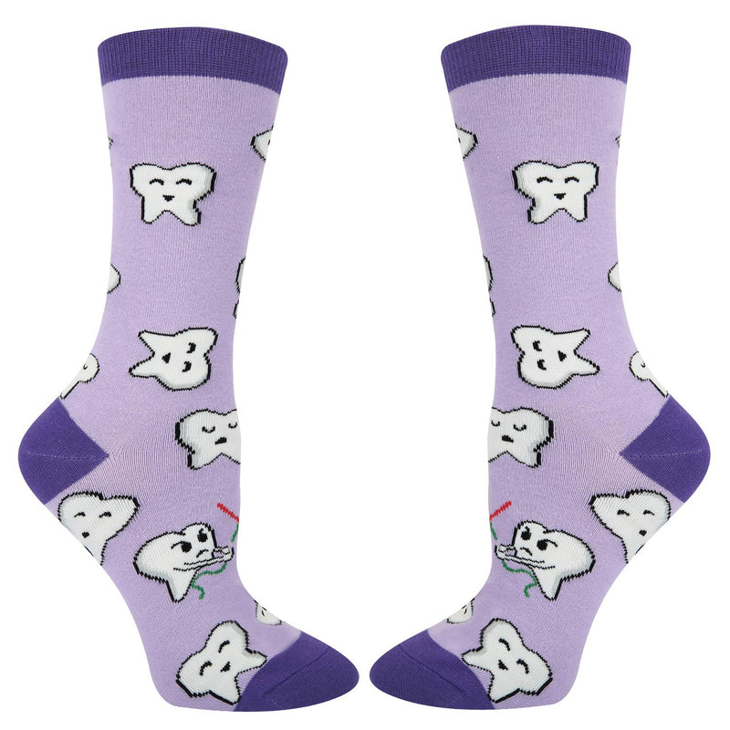 Purple Dental Teeth Socks - Happypop