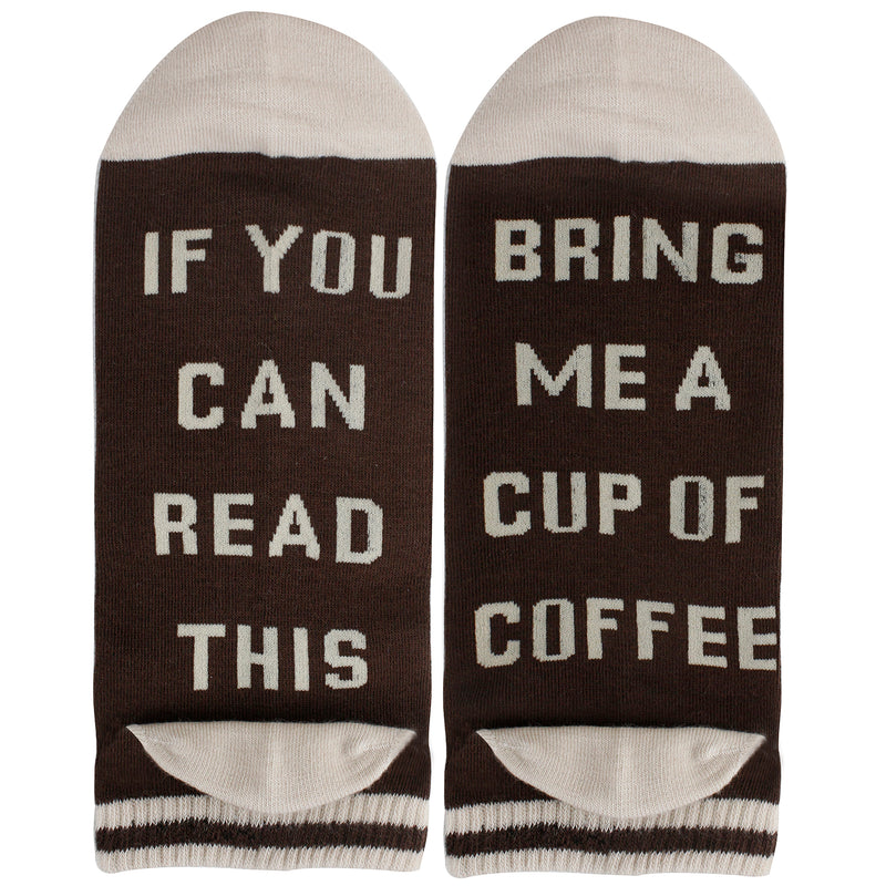 Saying Brown Coffee Ankle Socks - Happypop
