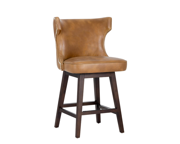 ELFRED SWIVEL COUNTER STOOL TOBACCO TAN