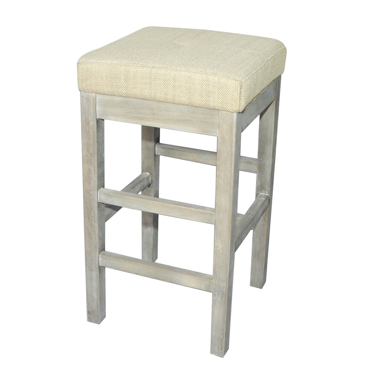 Kieran Backless Counter Stool Mystique Gray Legs, Canvas