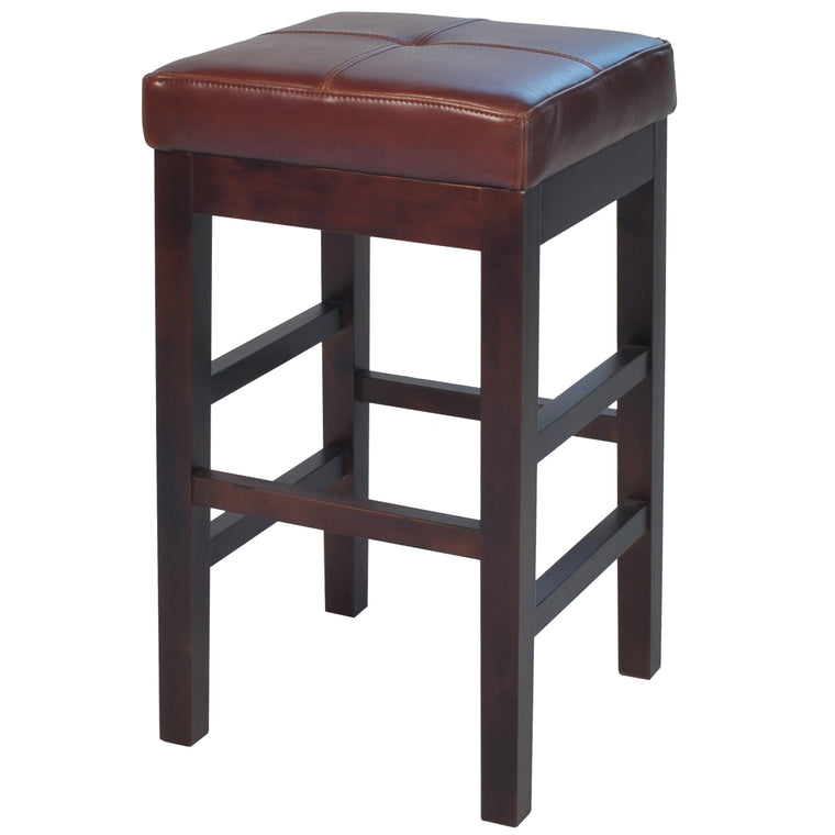 Kieran Backless Leather Counter Stool Cognac