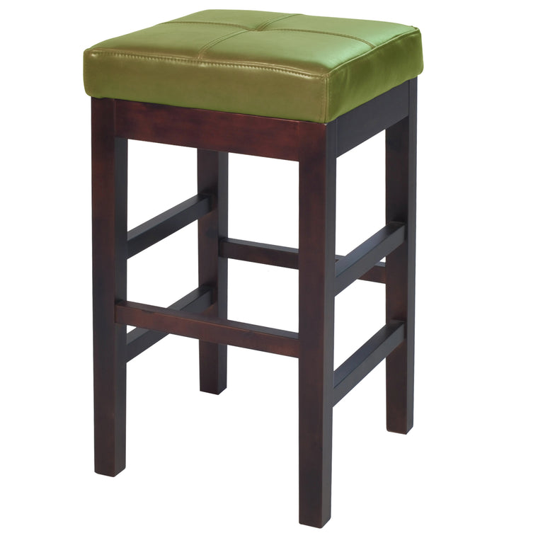 Kieran Backless Leather Counter Stool Wasabi