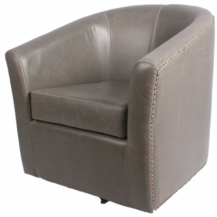 Merlin Bonded Leather Swivel Chair, Vintage Gray
