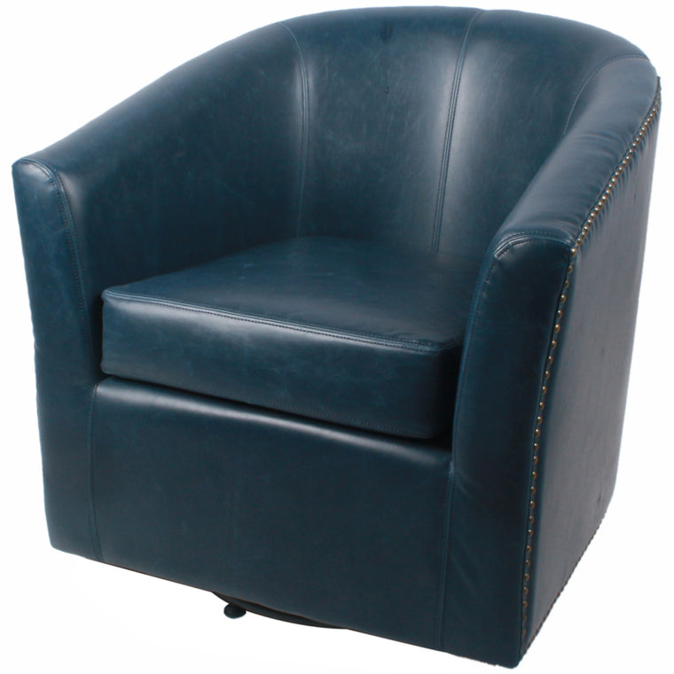 Merlin Bonded Leather Swivel Chair, Vintage Blue