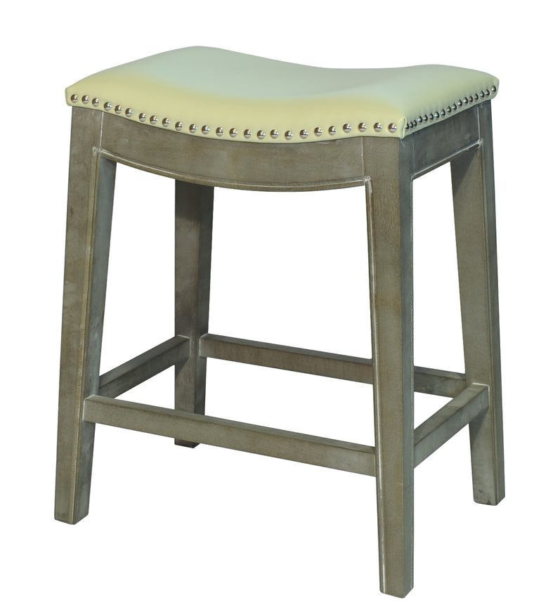 Penwyn Bonded Leather Counter Stool Mystique Gray Frame, Beige