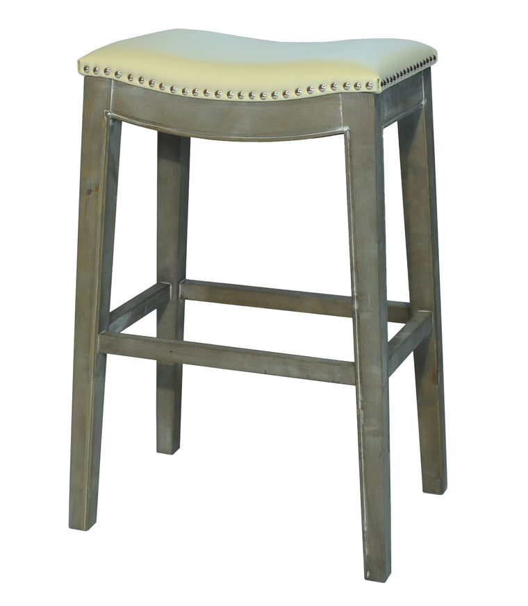 Penwyn Bonded Leather Bar Stool Mystique Gray Frame, Beige
